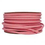 Kábel dvojžilový v podobe textilnej šnúry so vzorom v červenej farbe, 2 x 0.75mm, 1 meter